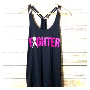 IDEOLOGY Fighter graphic black with pink tank S